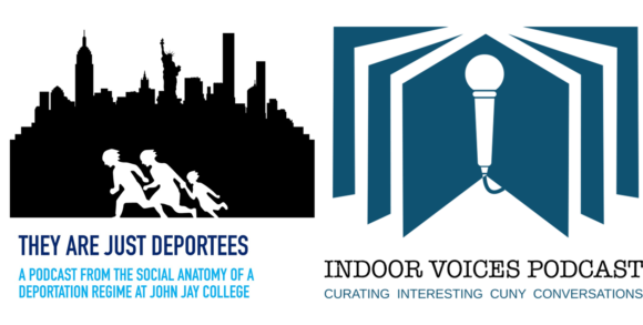 Logos of featured podcasts: They Are Just Deportees and Indoor Voices