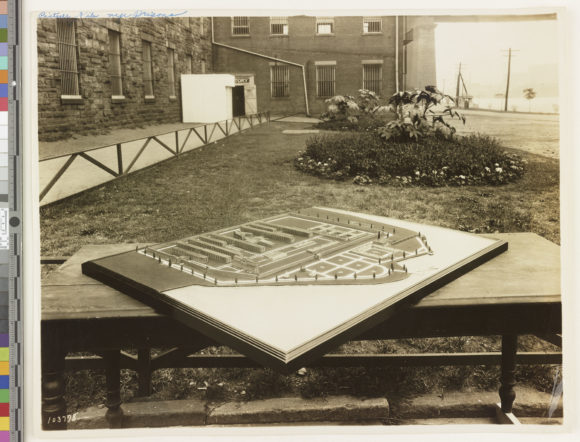 Model of Rikers Island Penitentiary (1928) from the NYC Municipal Library