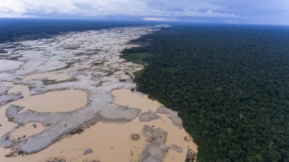 A deforested area damaged by illegal gold mining in Madre de Dios province, Peru, Jan. 2018. (AP Photo/Rodrigo Abd)