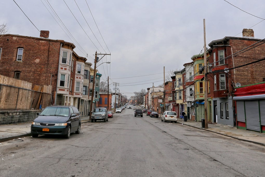 A run-down residential street in Newburgh, NY
